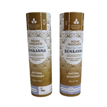 Ben & Anna - 2- Pack Natural Soda Deodorant, Indian Mandarine